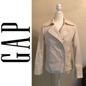Cream Colored GAP Corduroy Peacoat Jacket